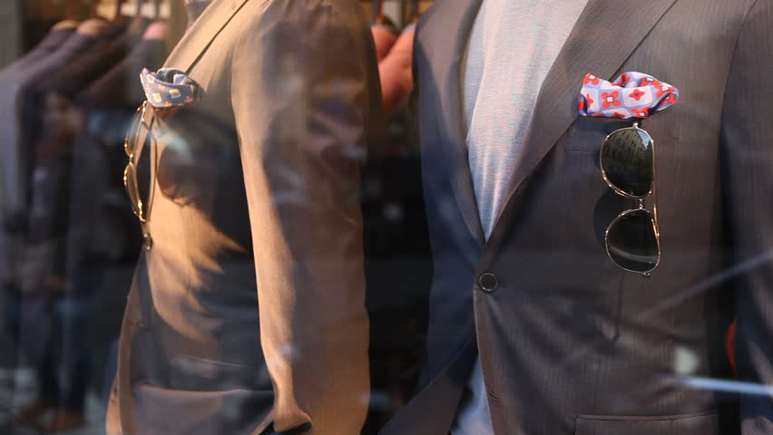 Male suits on store display
