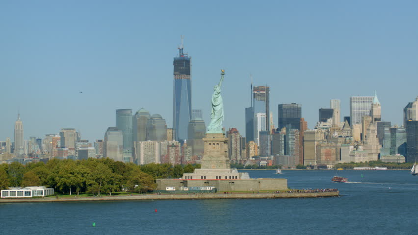 View of Statue of Liberty and downtown Manhattan | Shutterstock HD Video #4785212