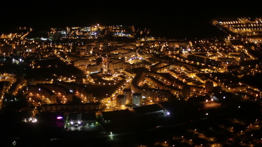 Lisbon at night aerial