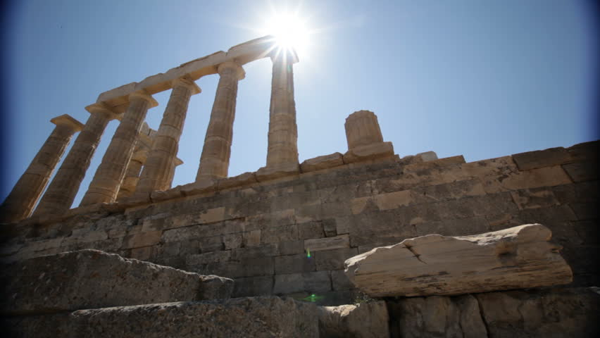 Poseidon temple in Greece with flare