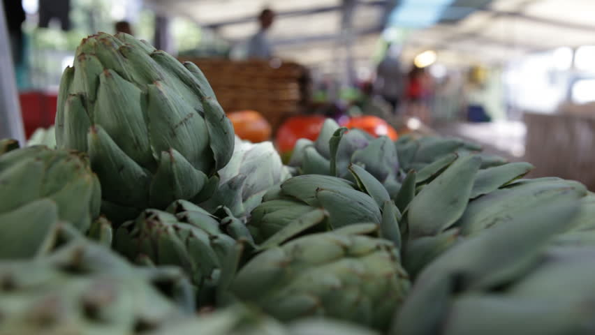 Artichoke selection at the market