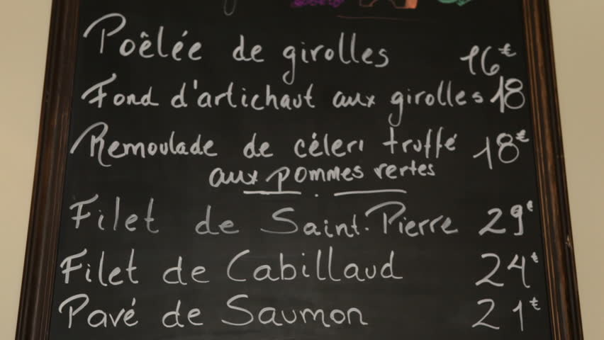 Menu on board in French restaurant