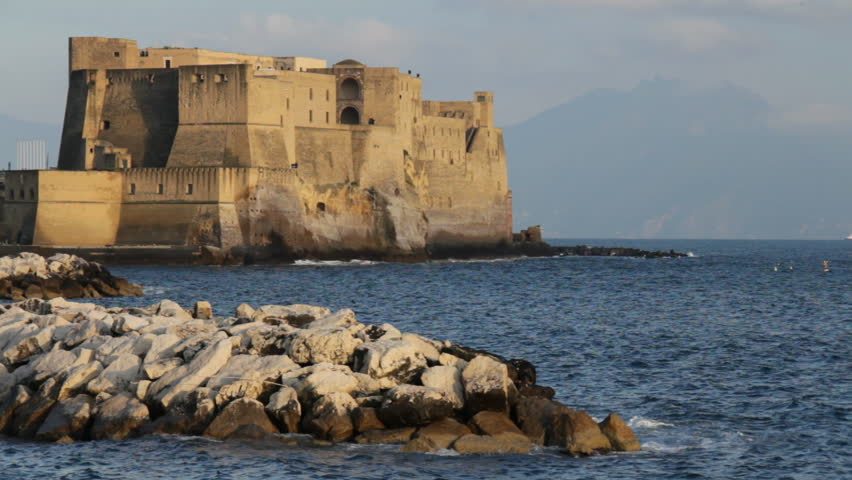 Castle in Naples, Italy with Vesuvio in the background