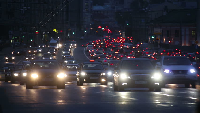 evening car traffic at rush hour in moscow