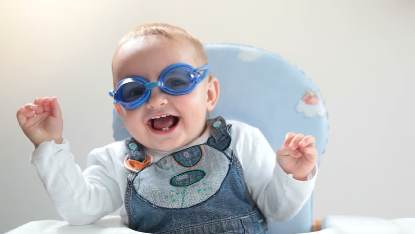 Baby in swimming goggles