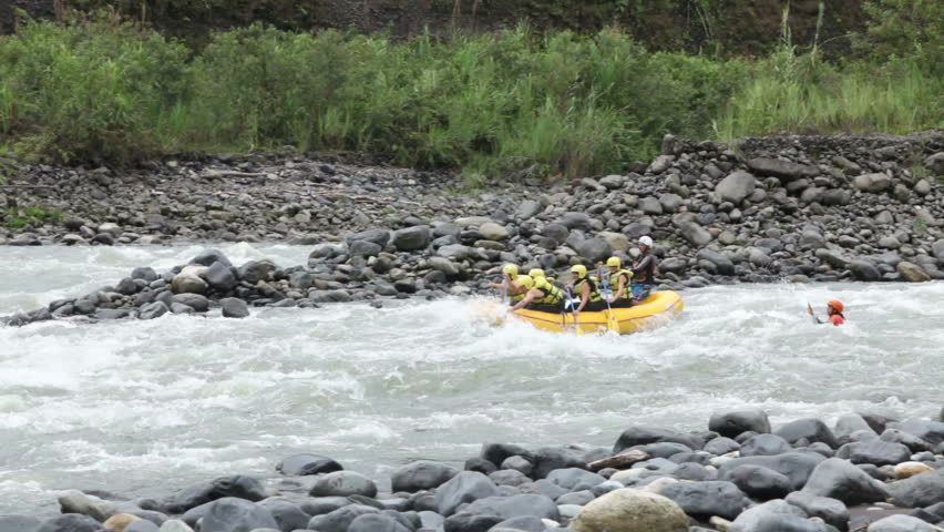 White water rafting on the rapids of the river Pastaza,Ecuador.