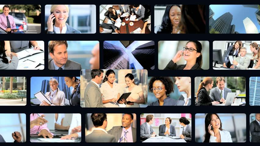 3D video wall of smart businesspeople using online touch screen technology   Shutterstock HD Video #4804880