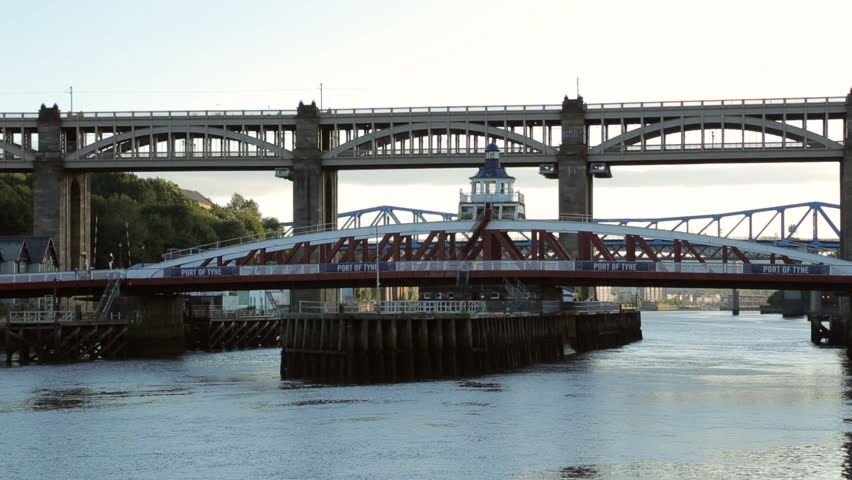 King Edward VII bridge and swing bridge, Newcastle upon Tyne, England | Shutterstock HD Video #4828520