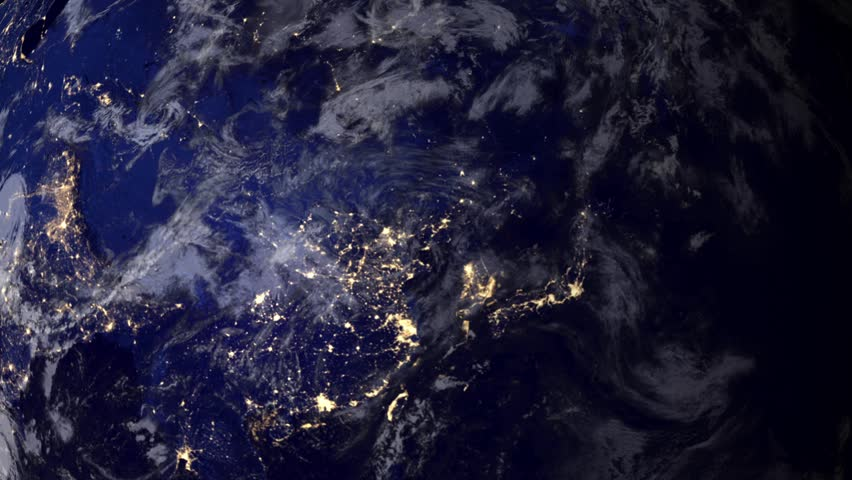Telecommunication satellite over Asia, night view from space.. Cinema quality 3D animation. HD. The focus changes from earth to satelite and back through the clouds.