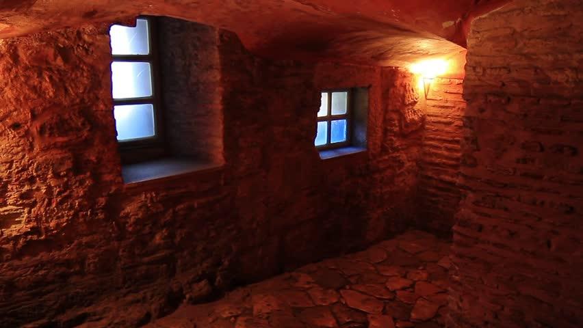 Dungeon. Looking down a dark passageway. Static HD1080p
