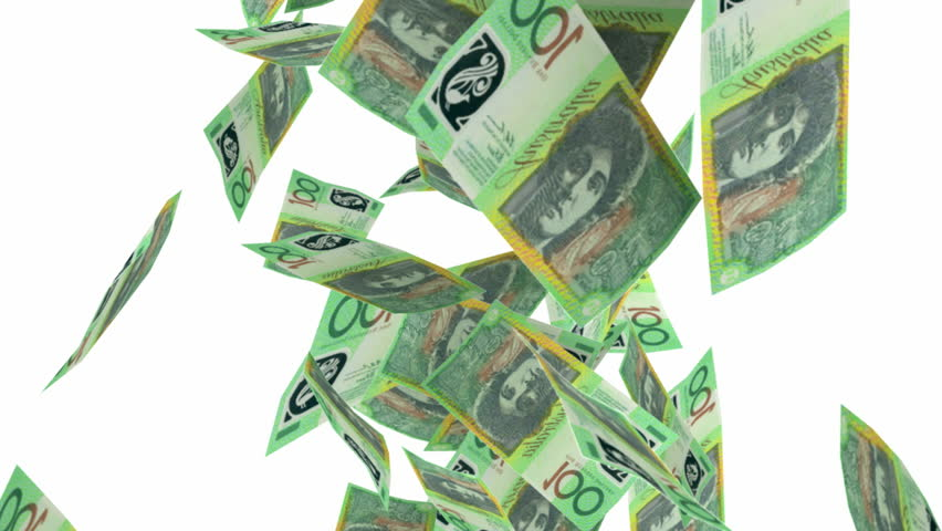 An array of one hundred Australian dollar bill notes falling through the air on an isolated white background