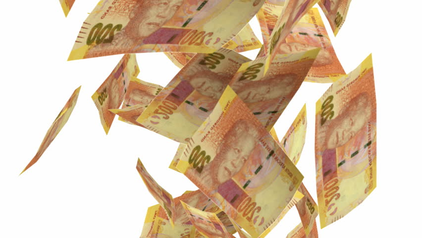 An array of south African two hundred rand notes falling through the air on an isolated white background