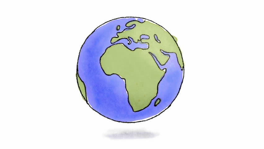 Hand drawn Earth spinning. Loop-ready hand drawn animation of Earth spinning (charcoal and watercolor)