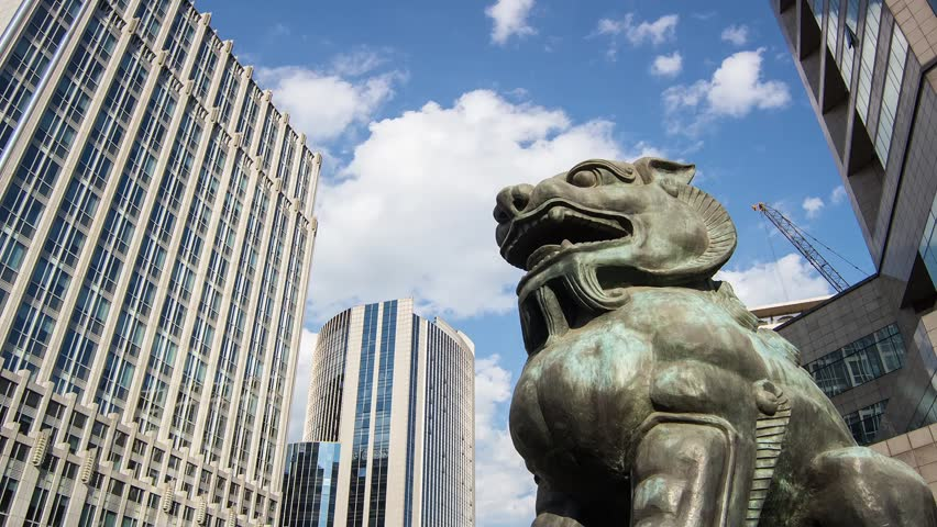 The bronze lion sculpture in Beijing Financial Street,Beijing,China | Shutterstock HD Video #4850723