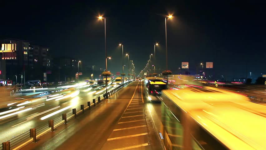 Night time lapse of traffic & lights on autobahn. Istanbul traffic was very heavy as expected before a holiday weekend.