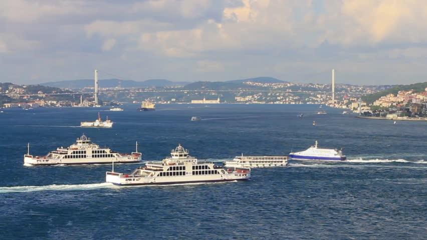 Bosphorus. Complex sea traffic at Bosporus in Istanbul, Turkey.