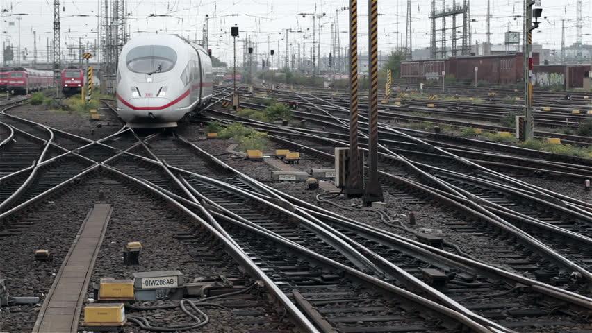 FRANKFURT, GERMANY - OCTOBER 12: A German highspeed ICE train is arriving at main station Frankfurt on October 12, 2013 | Shutterstock HD Video #4865369