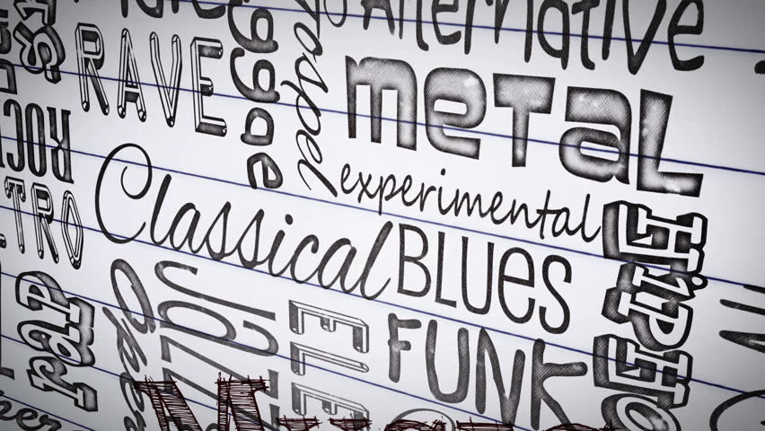 Animation of different music styles appearing on a paper   Shutterstock HD Video #4883543