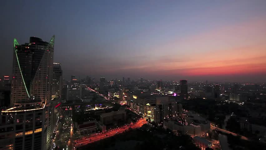 Time lapse Sunset in Bangkok city from top building   Shutterstock HD Video #4897889