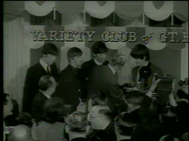 Labour Party leader H. Wilson presents the Variety Club silver hearts awards to the Beatles, the Dorchester Hotel, London circa 1964-MGM PICTURES, UNIVERSAL-INTERNATIONAL NEWSREEL, USA, filmed in 1964