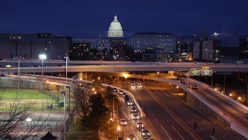 Illuminated Night Lights Aerial View Busy Car Traffic Jam on Southeast Freeway US Capitol Building Congress Washington DC, Rush Hour Commuters on Highway, Motorway in Capital City of United States USA