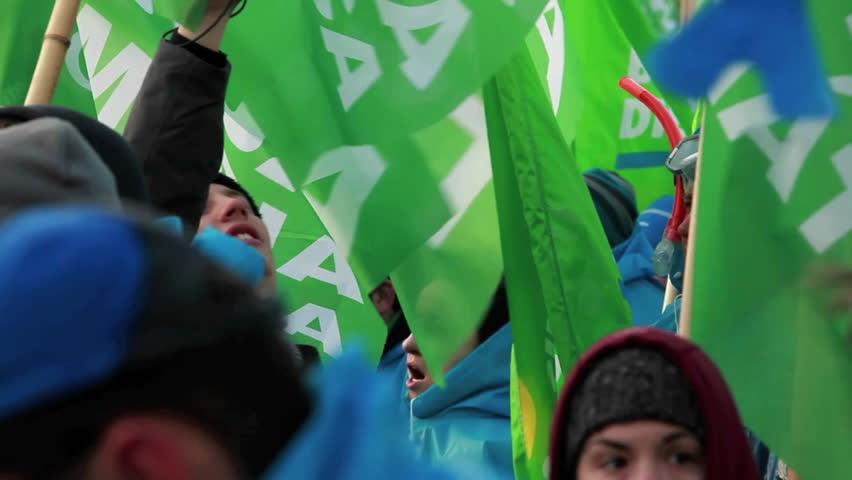COPENHAGEN, DENMARK - CIRCA 2009: Environmental activists march in a parade on Earth Day. | Shutterstock HD Video #4899665