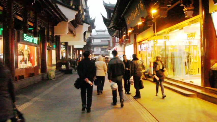 SHANGHAI - DECEMBER 21: City God Temple of Shanghai, The City God Temple located in the bustling City God's Temple Tourist Area, handheld shot on December 21, 2012 in Shanghai, China. pov. #4901768