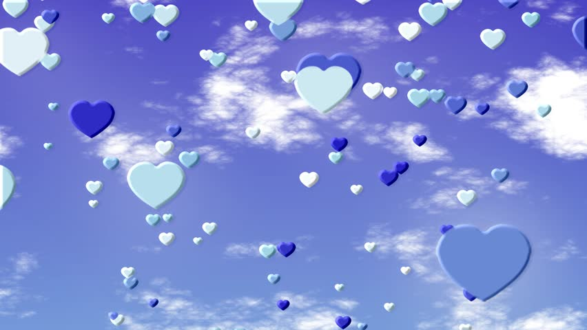 Valentine Love Hearts on a Blue Background of Animated Clouds and Blue Skies