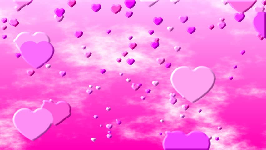 Valentine Love Hearts on a Hot Pink Background of Animated Clouds and Skies