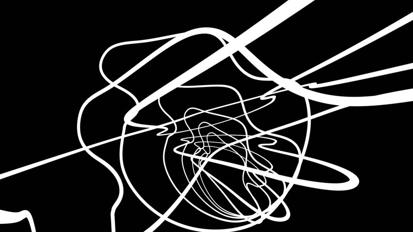 Chaotic Random White Curves Abstract Motion Black Background