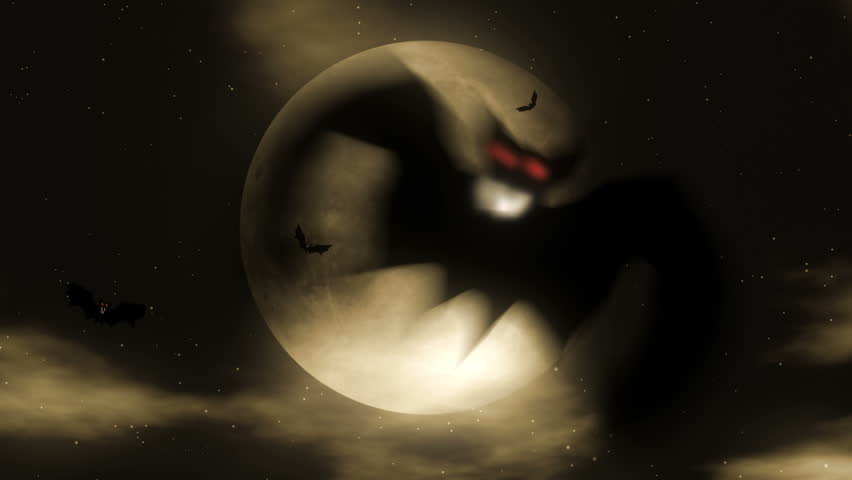 Bat Attack 2 - Halloween Party Video Background Loop. Bats attacking in front of a full moon. A looping Halloween horror visual - great for clubs or parties. This is the advanced 2013 version.
