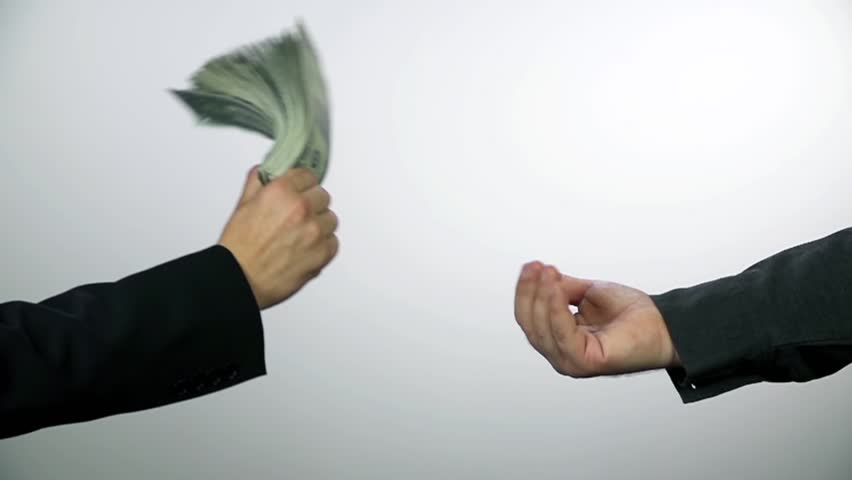 Debt collector receiving money from business man. Slow motion money shots of young business man full of corrupted money, throwing it in the air and bribing.