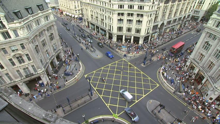 London, Oxford Circus - elevated pan shot.