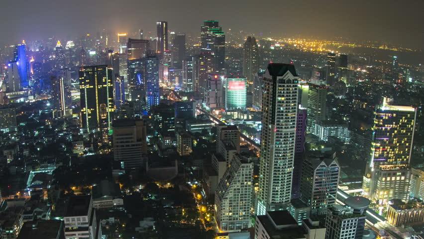 Beautiful zooming cityscape time lapse of Bangkok using fisheye lens. | Shutterstock HD Video #4943243