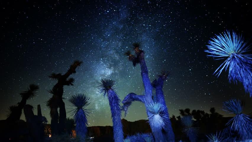 Draconids Meteor Shower 06 4K Dolly Back Up Joshua Tree Milky Way Timelapse