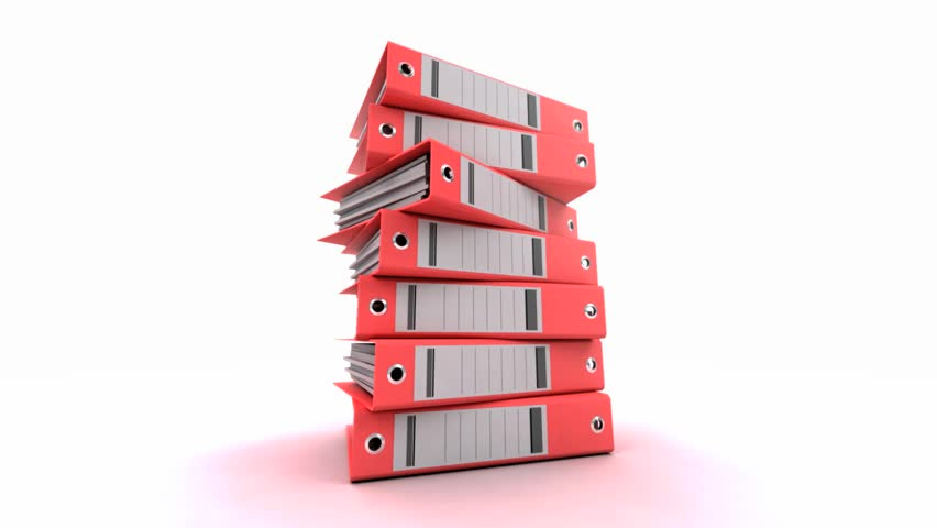 3D animation of a pile of red ring binders turning around