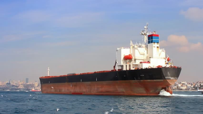 Tanker ship on route to Black Sea. Side view of the large cargo ship. High Definition, tracking video