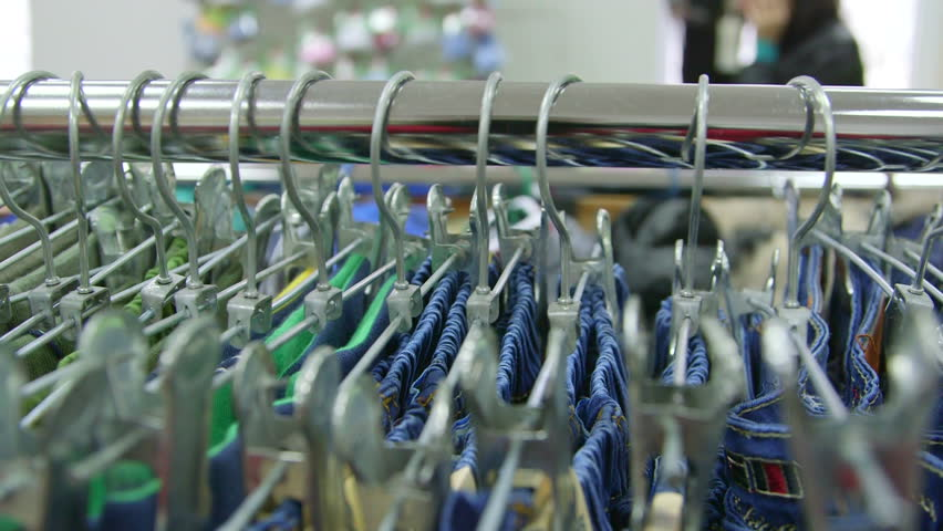 Dolly: Hangers at Clothing Store | Shutterstock HD Video #4998695