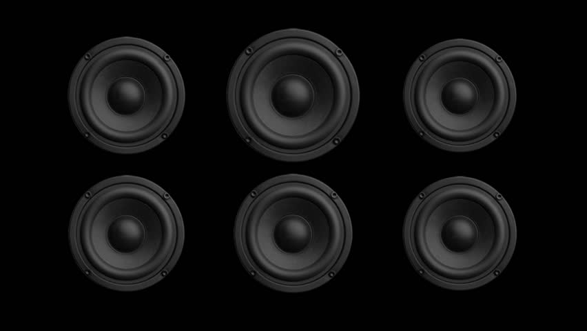 Abstract Background of loudspeakers randomly pulsing for use with music videos