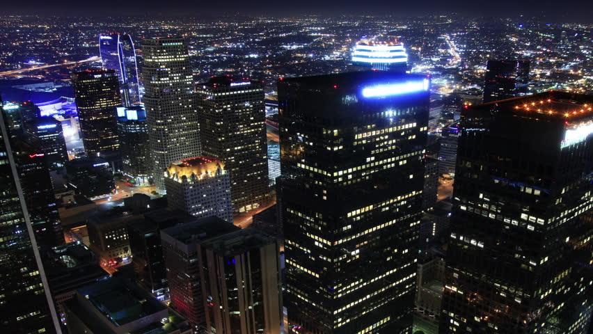 4K Night Cityscape Timelapse 75 Los Angeles Traffic Clouds Pan | Shutterstock HD Video #5036084