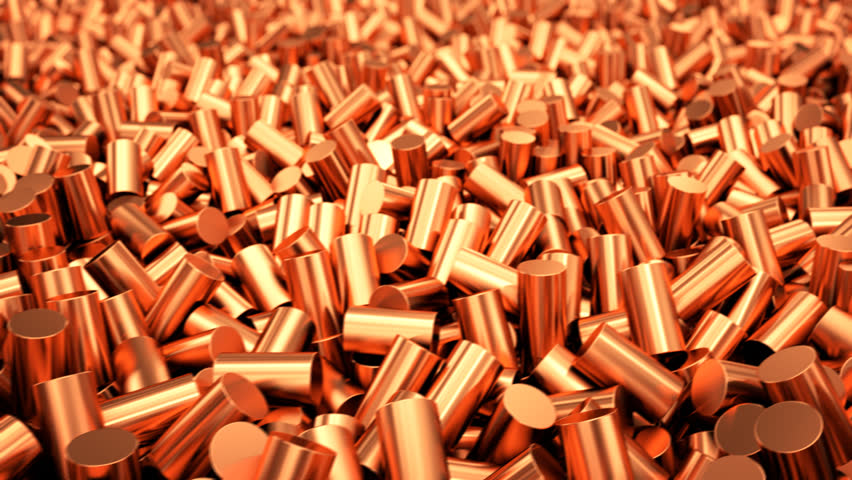 Close up of pure copper cylindrical granulate. CG loopable animation.