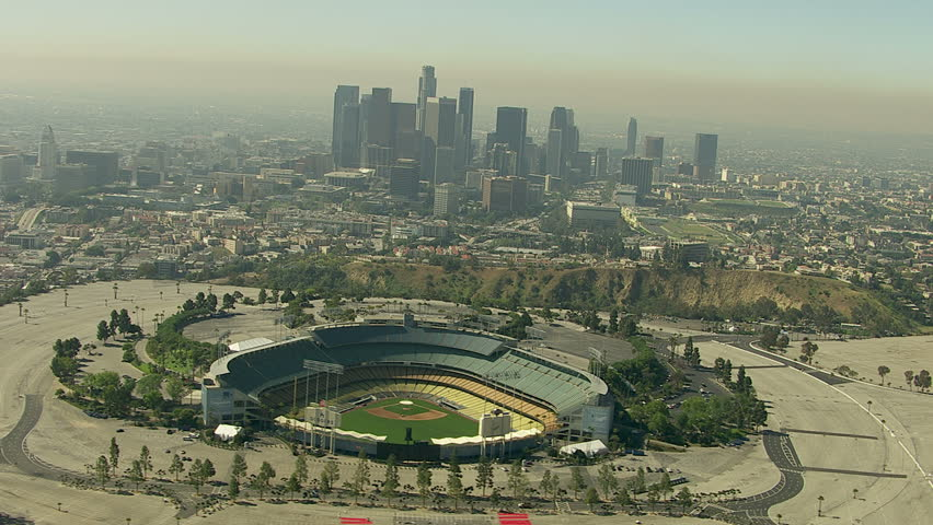 Los Angeles, California, USA - March 22, 2012: Aerial shot of Dodger stadium overlooking downtown Los Angeles