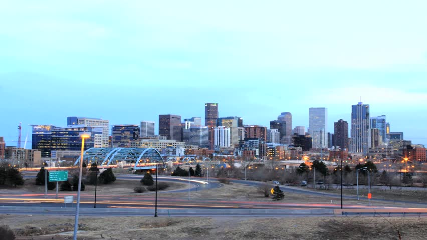 Time lapse of Denver, Colorado skyline from dusk to dark.