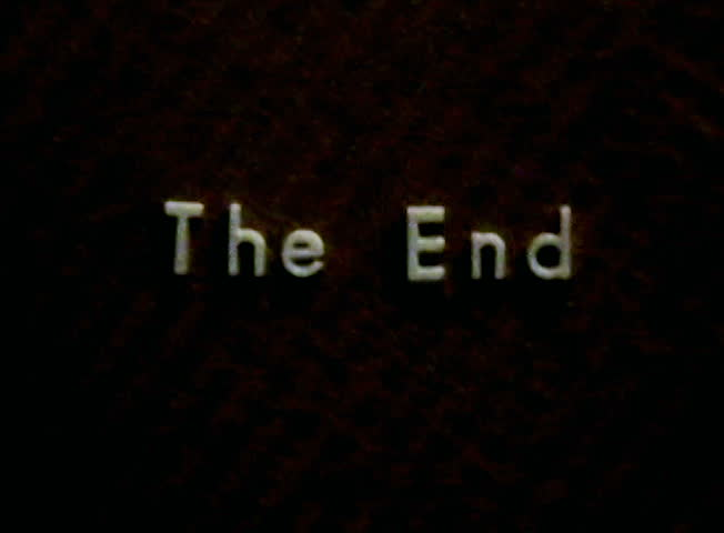 Vintage film The End title SD. Words over ancient map. Flicker from antique movie.