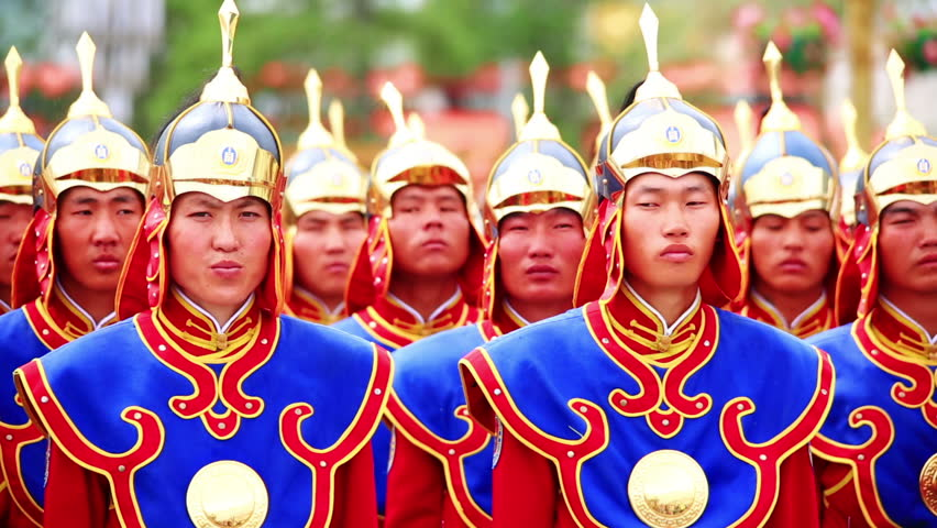 ULAANBAATAR, MONGOLIA - JULY 2013: Mongolian Army dressed with traditional military uniforms for Naadam Festival