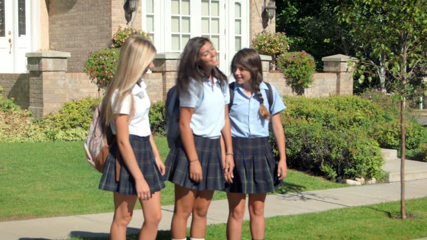 Three Pretty Uniformed Teen School Stock Footage Video -3215