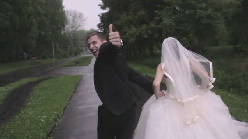 Wedding day, couple running cheering HD | Shutterstock HD Video #5077409