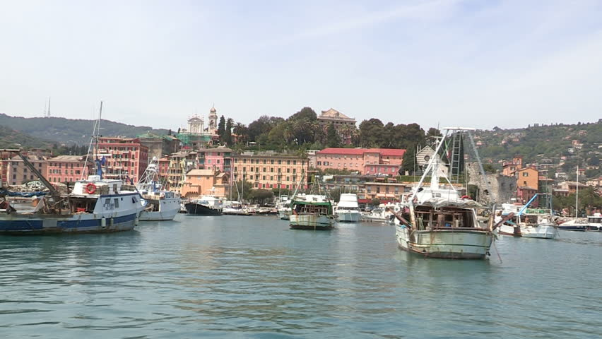 Port of Santa Margherita Ligure seen from the sea, with fishing boats