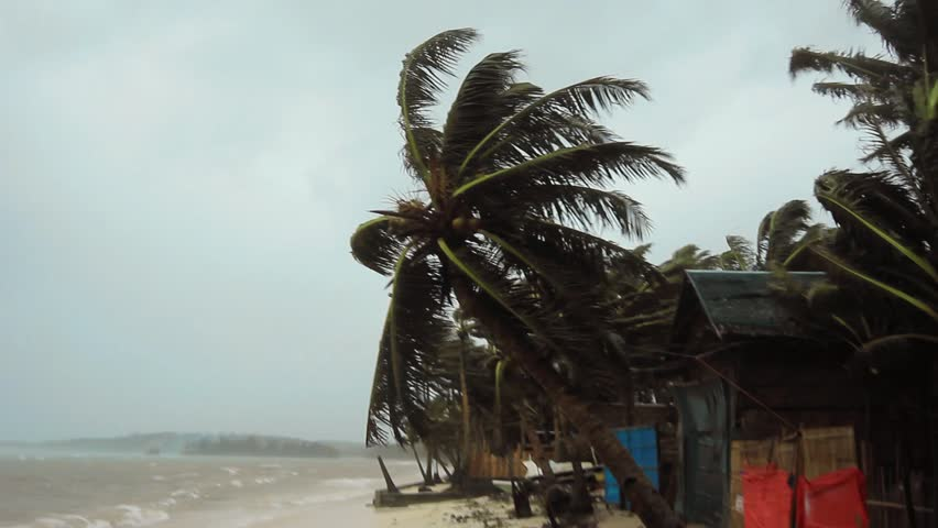 Boracay, Philippines - November 8th 2013: Super Typhoon Haiyan slams into the exposed eastern shore bringing hurricane force winds