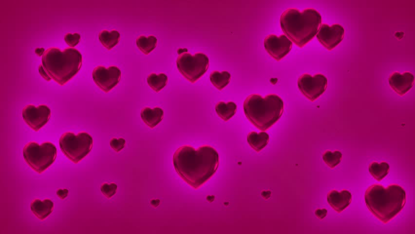 Hot Pink  Colored Cascading Valentine Love Hearts Abstract Black Background